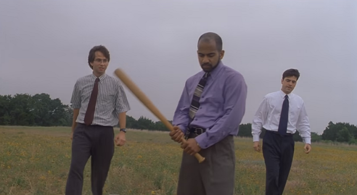 Iconic scene from an iconic movie: Michael, Samir and Peter destroy a printer