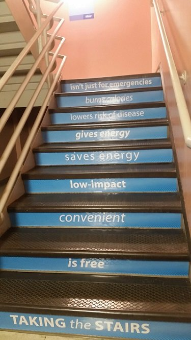 Smart buildings encourage fitness and wellness, through things like these stairs stickers