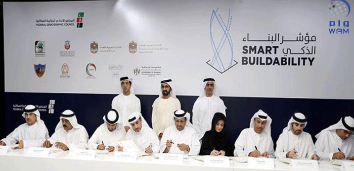 Sheikh Mohammed witnessed the signing of a Memorandum of Understanding for the New Smart Buildability Index by the Federal Demographic Council.
